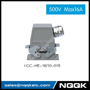 HDC HE 16/10 500V max16A Industrial rectangular plug socket heavy duty connector