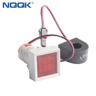 22mm 100A 50~500V AC White Green Red Yellow Blue Square LED Indicator Digital Voltmeter Ammeter